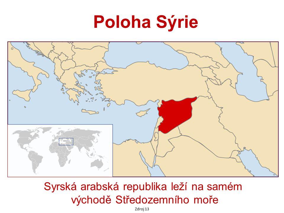 Syrská arabská republika leží na samém východě Středozemního moře