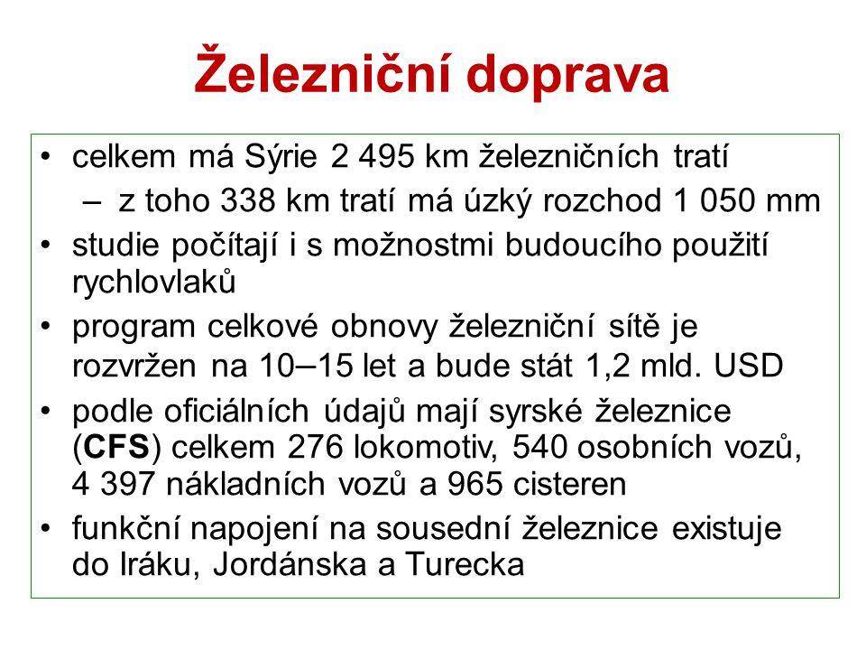 Železniční doprava celkem má Sýrie 2 495 km železničních tratí