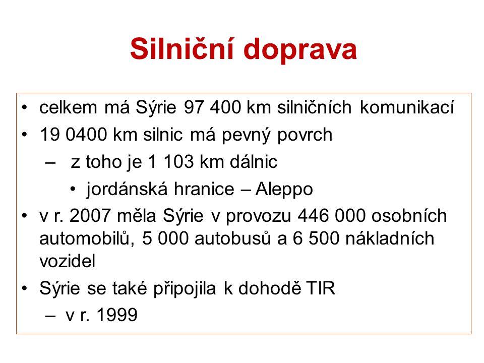 Silniční doprava celkem má Sýrie 97 400 km silničních komunikací