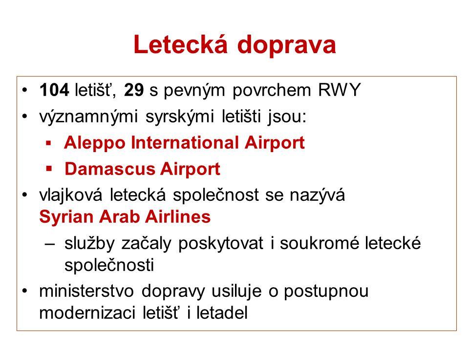 Letecká doprava 104 letišť, 29 s pevným povrchem RWY