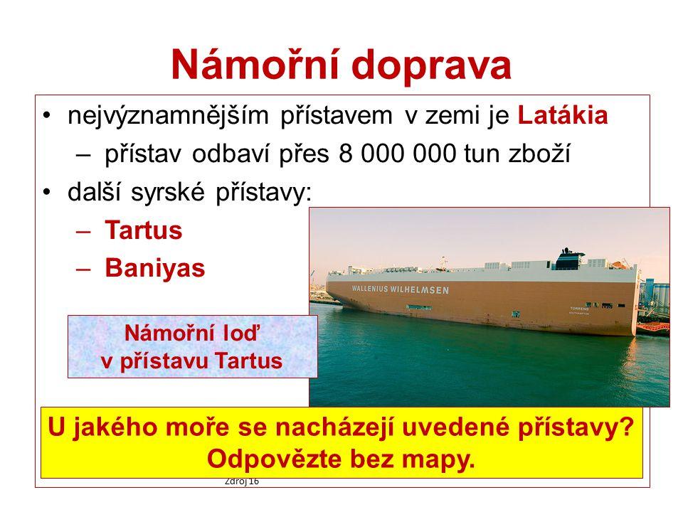Námořní doprava nejvýznamnějším přístavem v zemi je Latákia