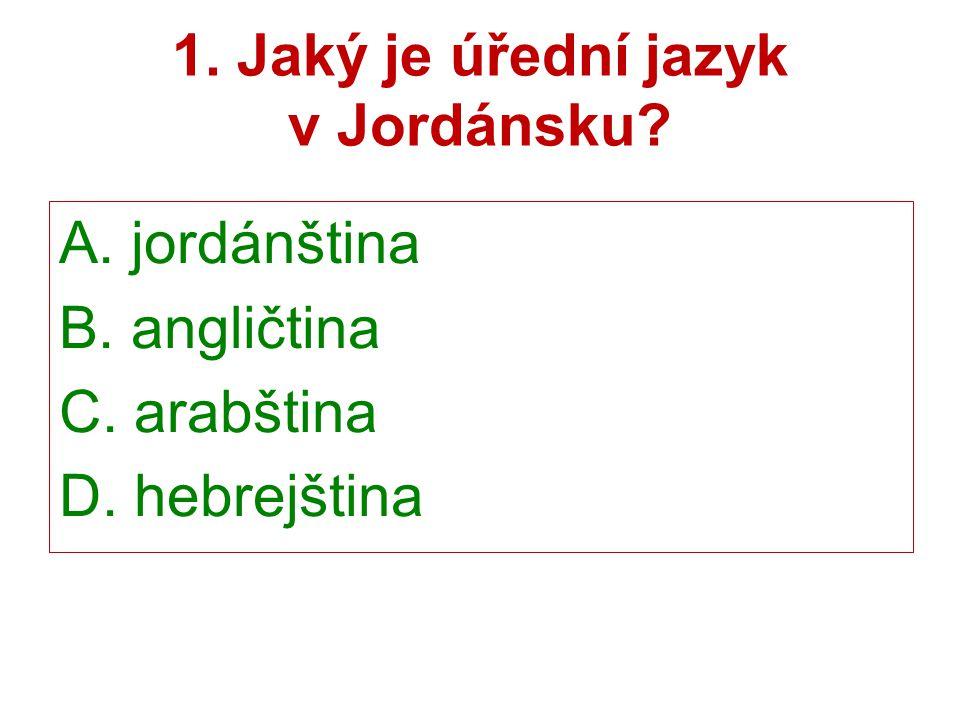 1. Jaký je úřední jazyk v Jordánsku