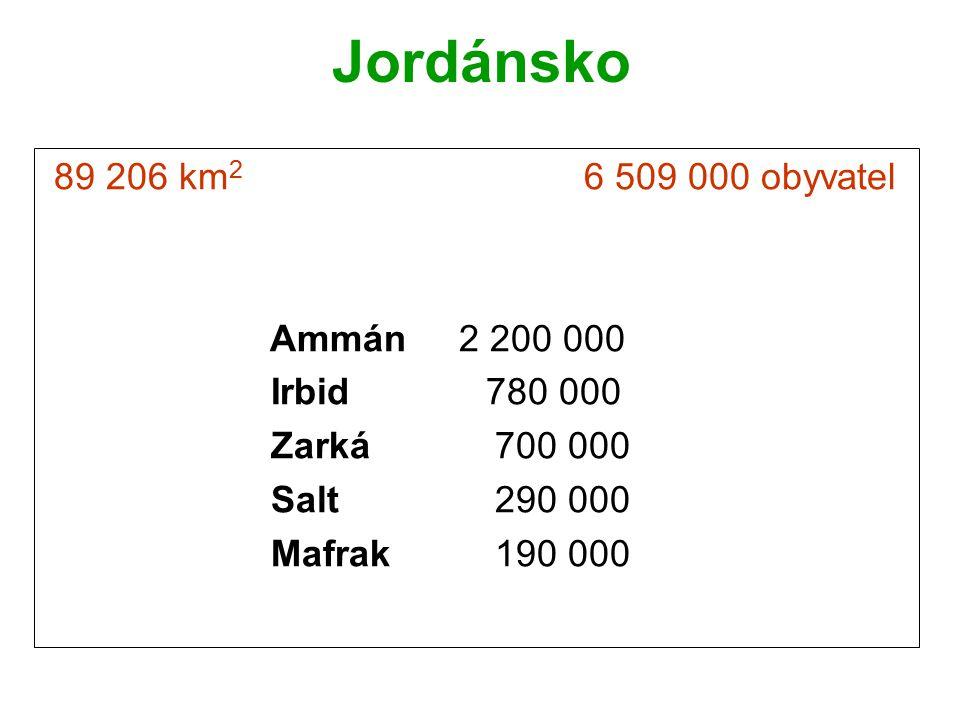Jordánsko 89 206 km2 6 509 000 obyvatel Ammán 2 200 000 Irbid 780 000