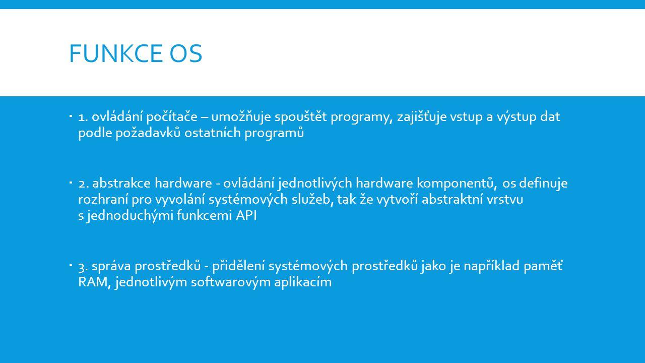 Funkce os 1. ovládání počítače – umožňuje spouštět programy, zajišťuje vstup a výstup dat podle požadavků ostatních programů.