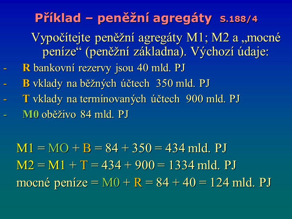 Příklad – peněžní agregáty S.188/4