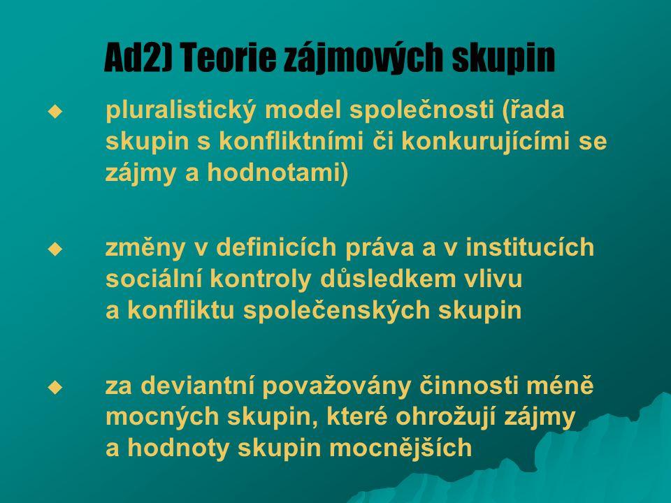 Ad2) Teorie zájmových skupin