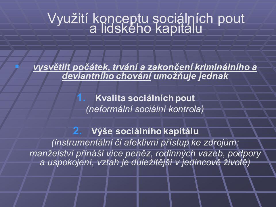 Využití konceptu sociálních pout a lidského kapitálu