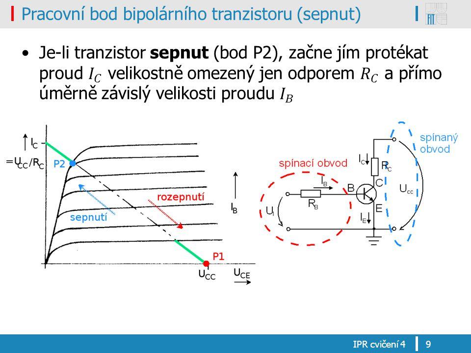 Pracovní bod bipolárního tranzistoru (sepnut)