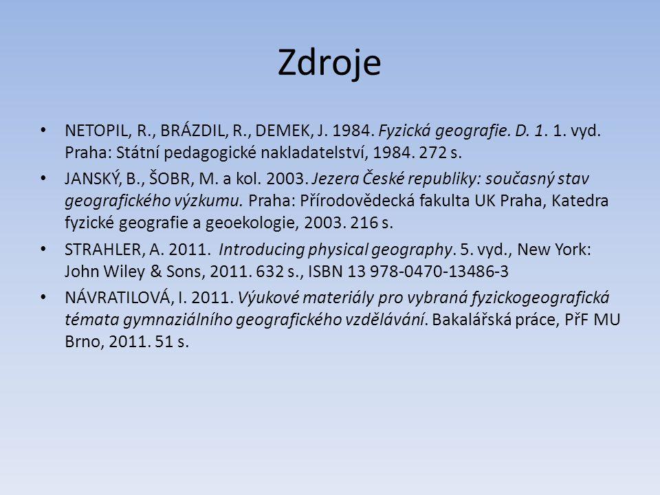 Zdroje NETOPIL, R., BRÁZDIL, R., DEMEK, J. 1984. Fyzická geografie. D. 1. 1. vyd. Praha: Státní pedagogické nakladatelství, 1984. 272 s.