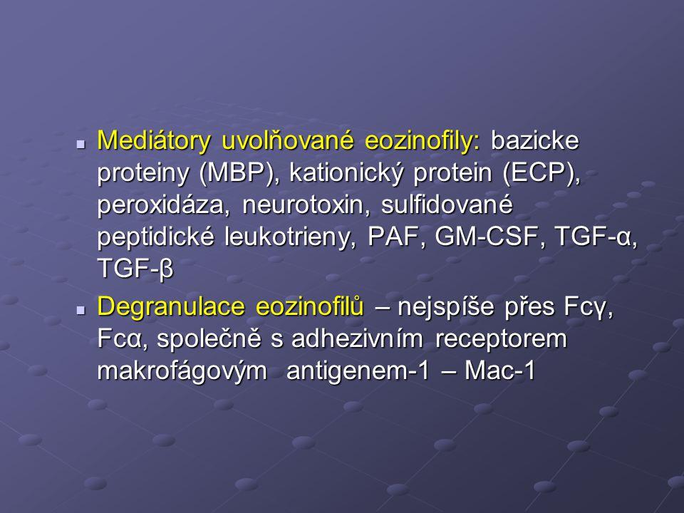 Mediátory uvolňované eozinofily: bazicke proteiny (MBP), kationický protein (ECP), peroxidáza, neurotoxin, sulfidované peptidické leukotrieny, PAF, GM-CSF, TGF-α, TGF-β