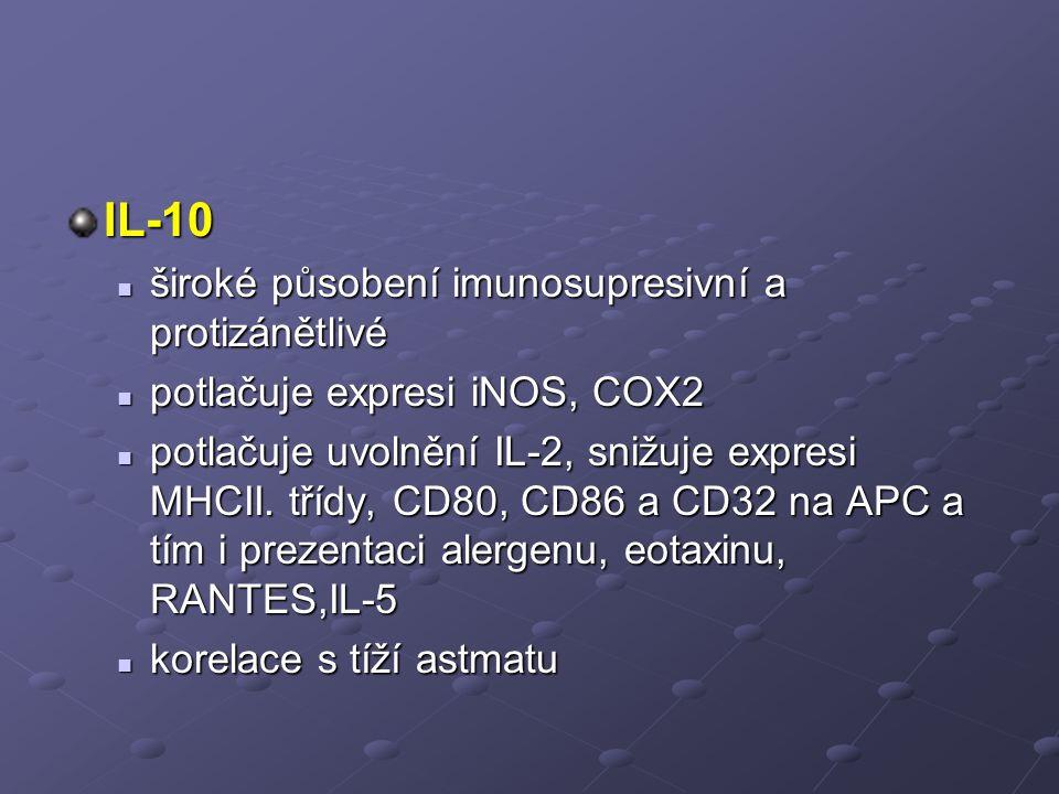 IL-10 široké působení imunosupresivní a protizánětlivé
