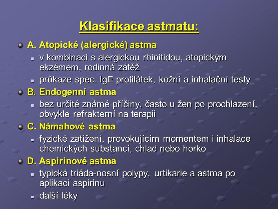 Klasifikace astmatu: A. Atopické (alergické) astma