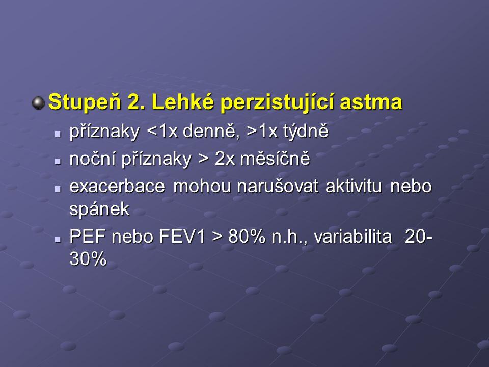 Stupeň 2. Lehké perzistující astma