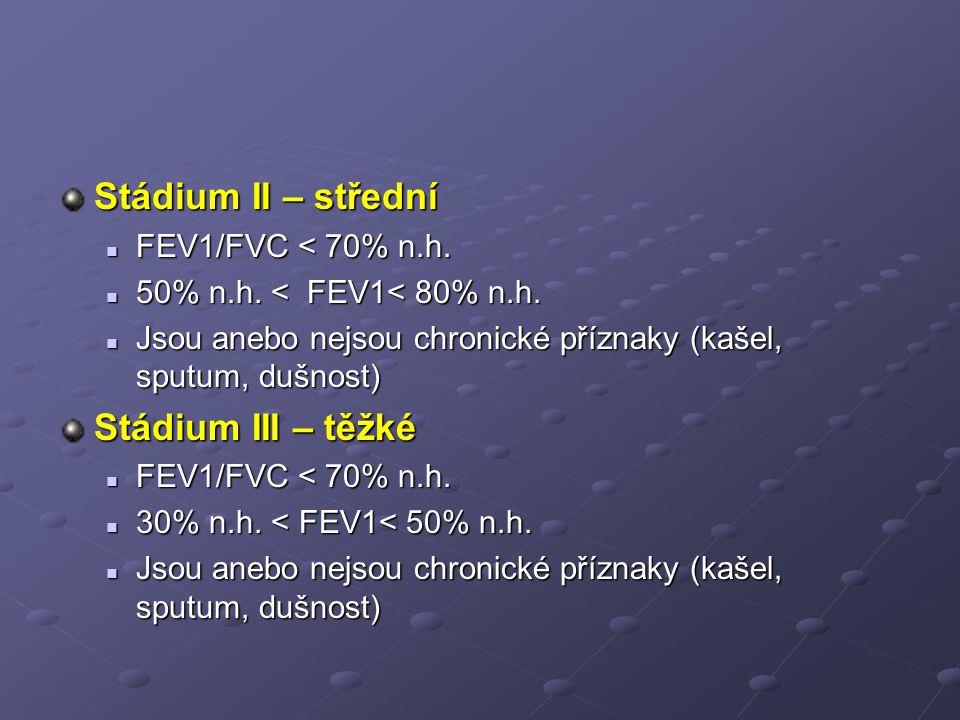 Stádium II – střední Stádium III – těžké FEV1/FVC < 70% n.h.