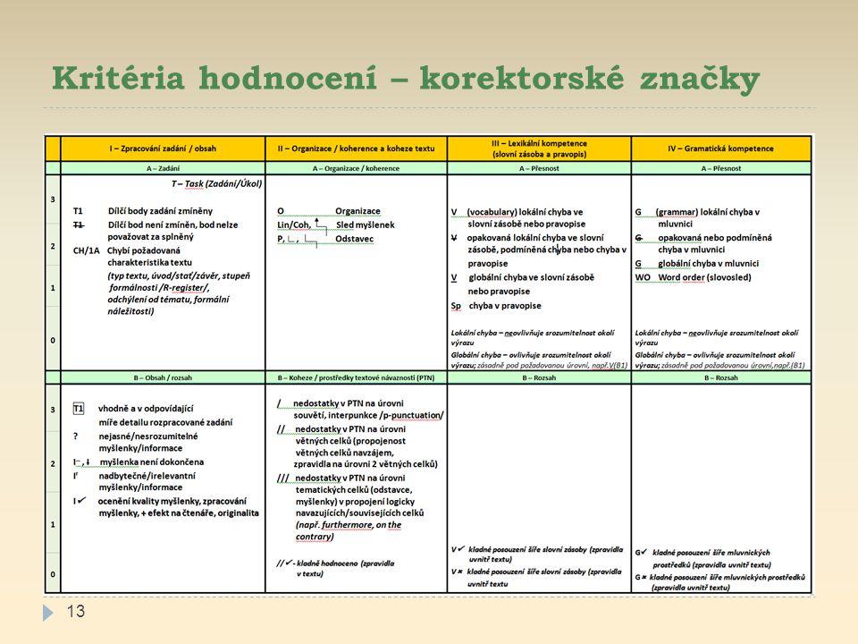 Kritéria hodnocení – korektorské značky