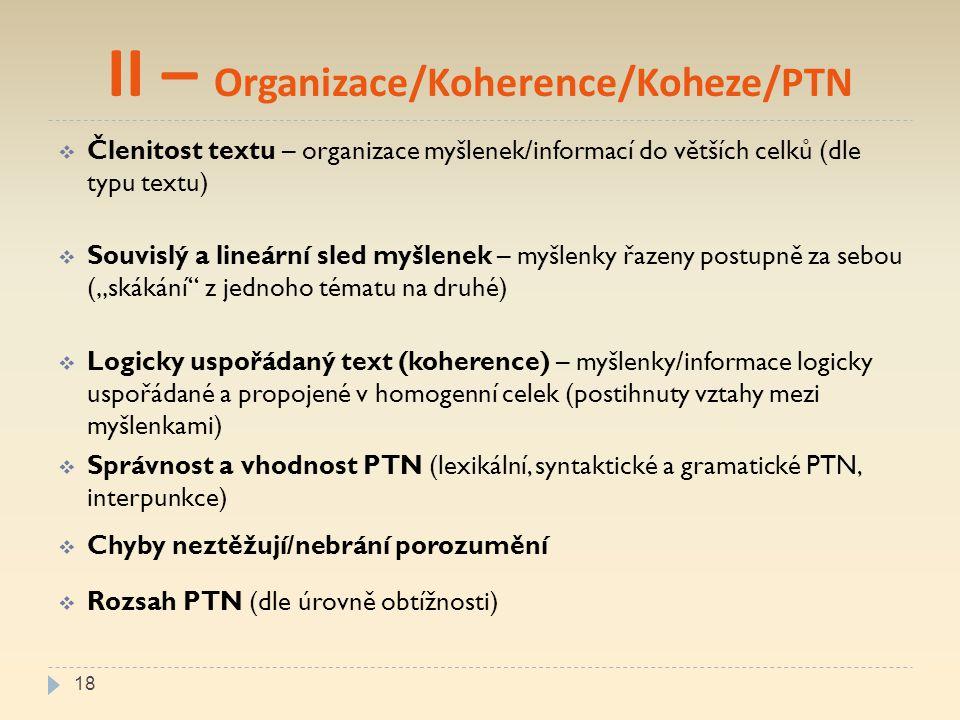 II – Organizace/Koherence/Koheze/PTN