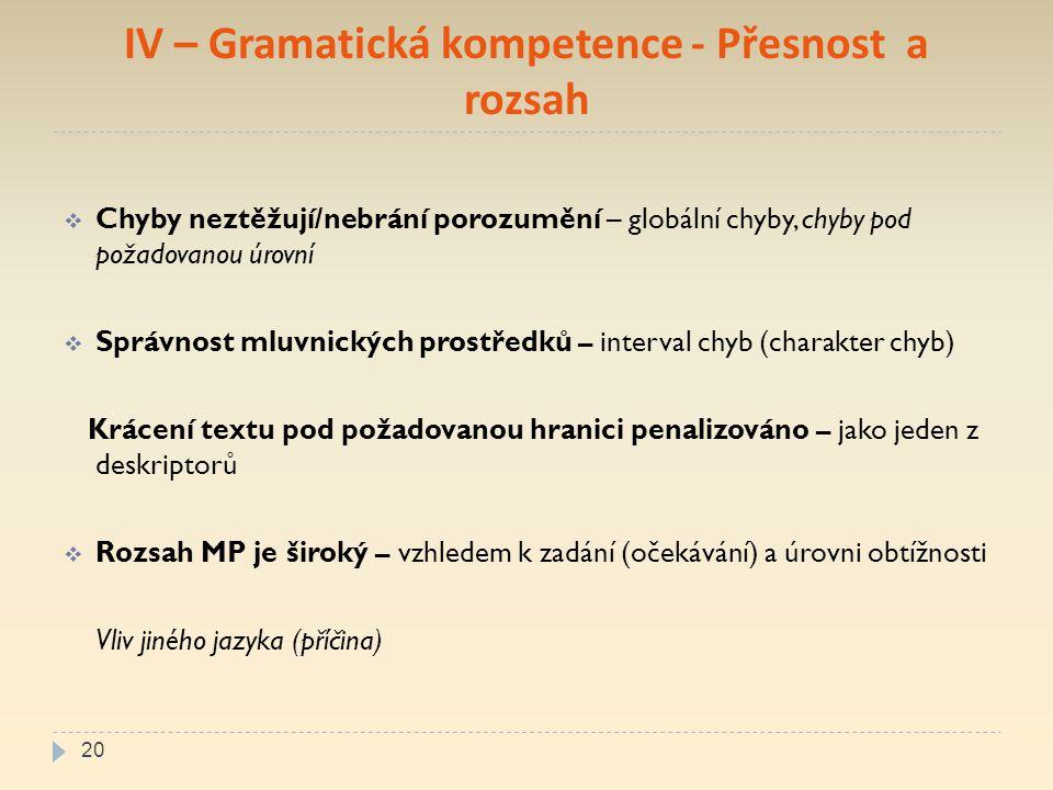 IV – Gramatická kompetence - Přesnost a rozsah