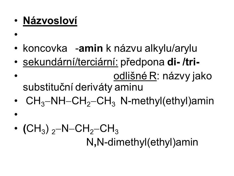 Názvosloví koncovka -amin k názvu alkylu/arylu. sekundární/terciární: předpona di- /tri- odlišné R: názvy jako substituční deriváty aminu.