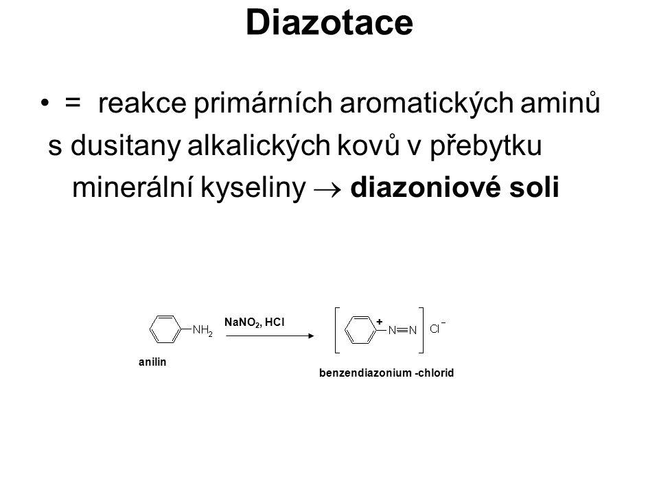 Diazotace = reakce primárních aromatických aminů