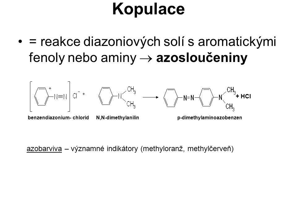 Kopulace = reakce diazoniových solí s aromatickými fenoly nebo aminy  azosloučeniny. + + HCl.