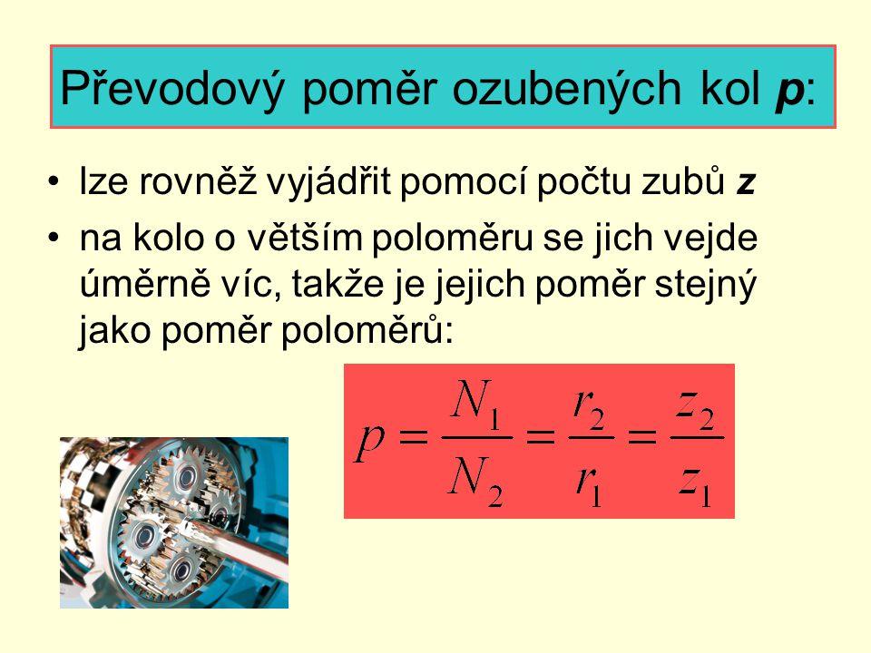 Převodový poměr ozubených kol p: