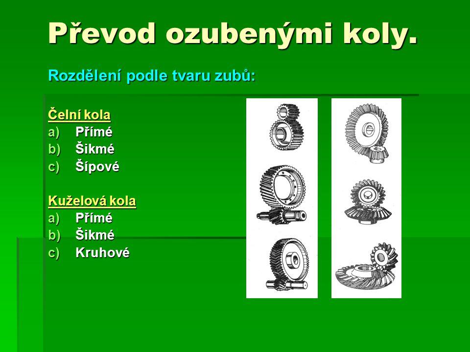 Převod ozubenými koly. Rozdělení podle tvaru zubů: Čelní kola Přímé