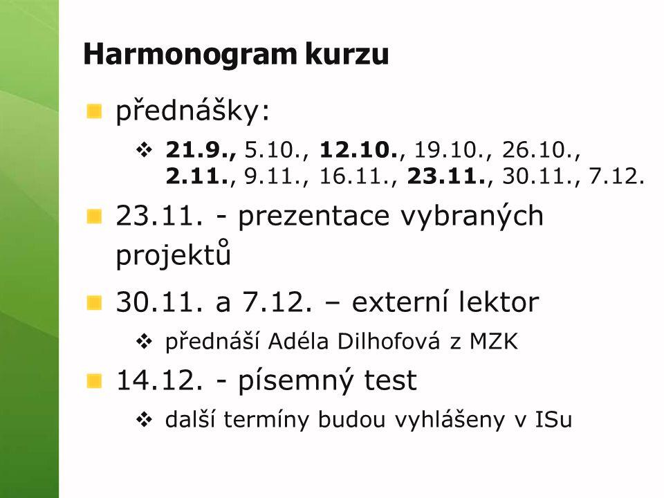 Harmonogram kurzu přednášky: 23.11. - prezentace vybraných projektů