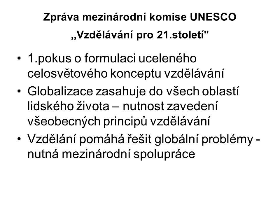 Zpráva mezinárodní komise UNESCO ,,Vzdělávání pro 21.století
