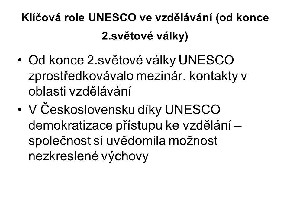 Klíčová role UNESCO ve vzdělávání (od konce 2.světové války)