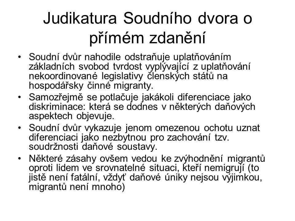 Judikatura Soudního dvora o přímém zdanění