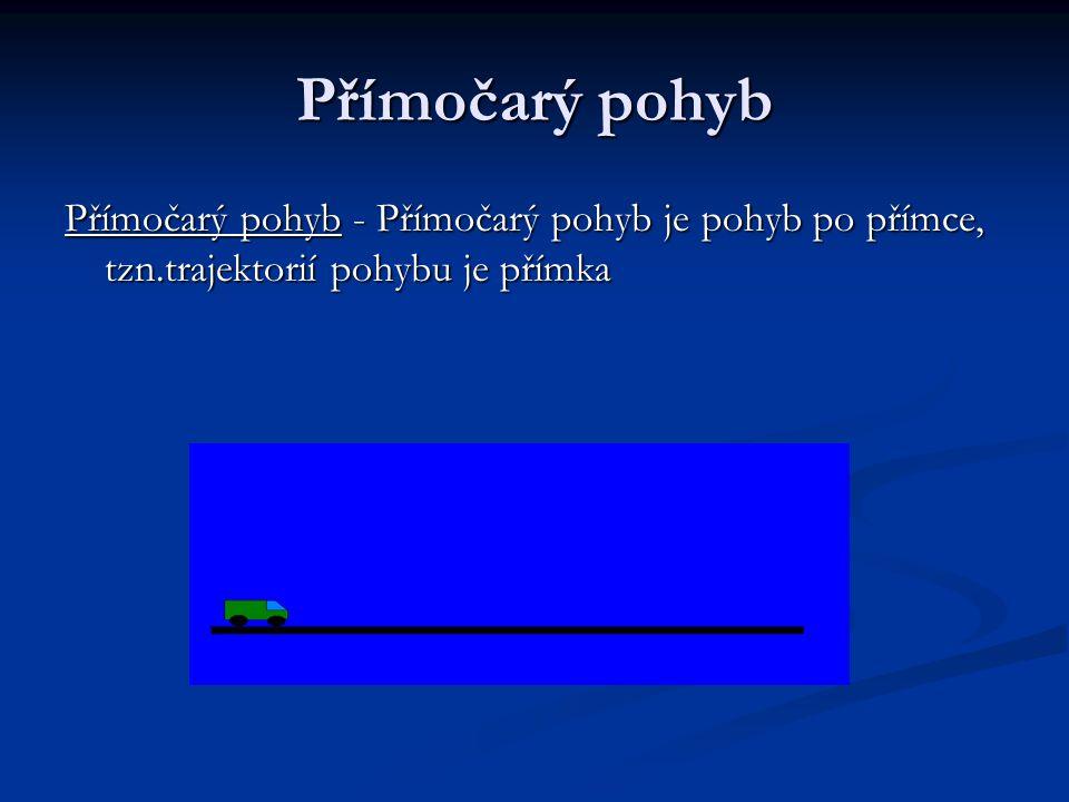 Přímočarý pohyb Přímočarý pohyb - Přímočarý pohyb je pohyb po přímce, tzn.trajektorií pohybu je přímka.
