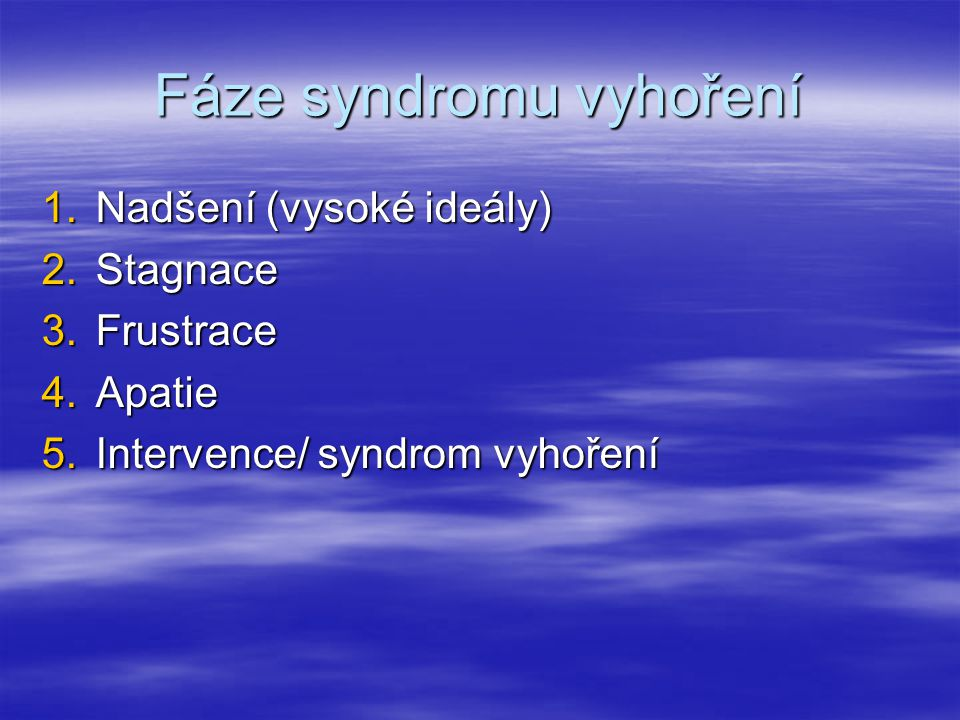 Fáze syndromu vyhoření