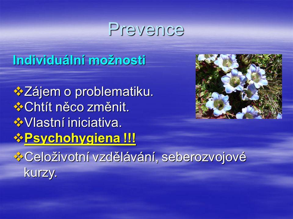 Prevence Individuální možnosti Zájem o problematiku.