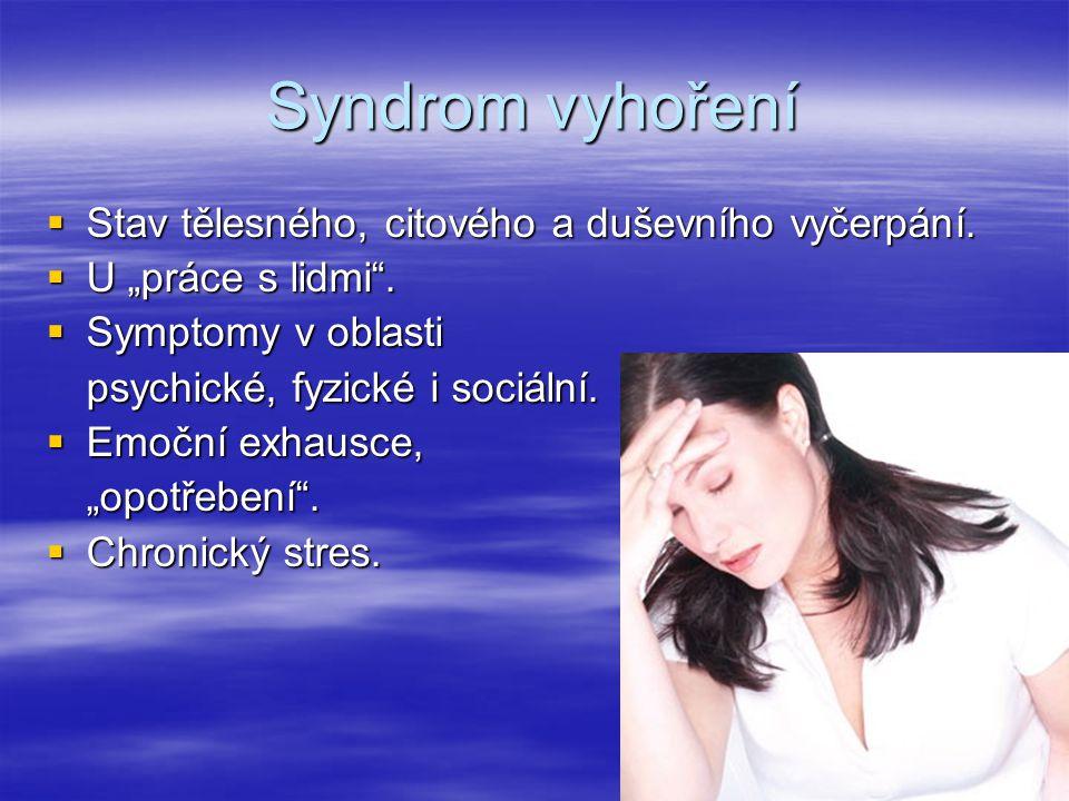Syndrom vyhoření Stav tělesného, citového a duševního vyčerpání.