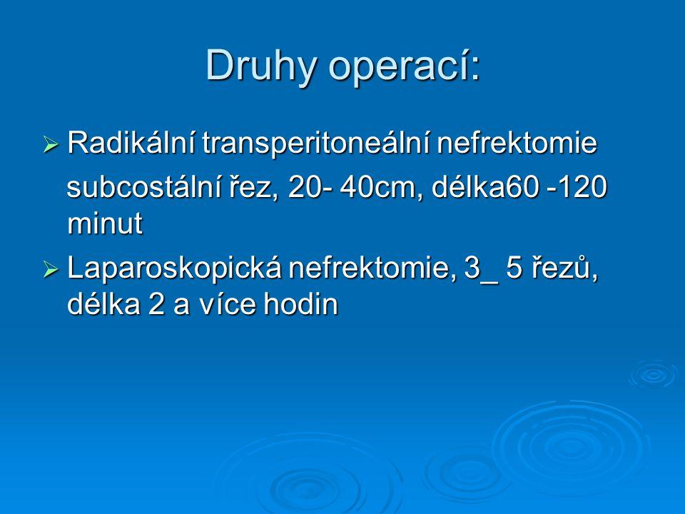 Druhy operací: Radikální transperitoneální nefrektomie