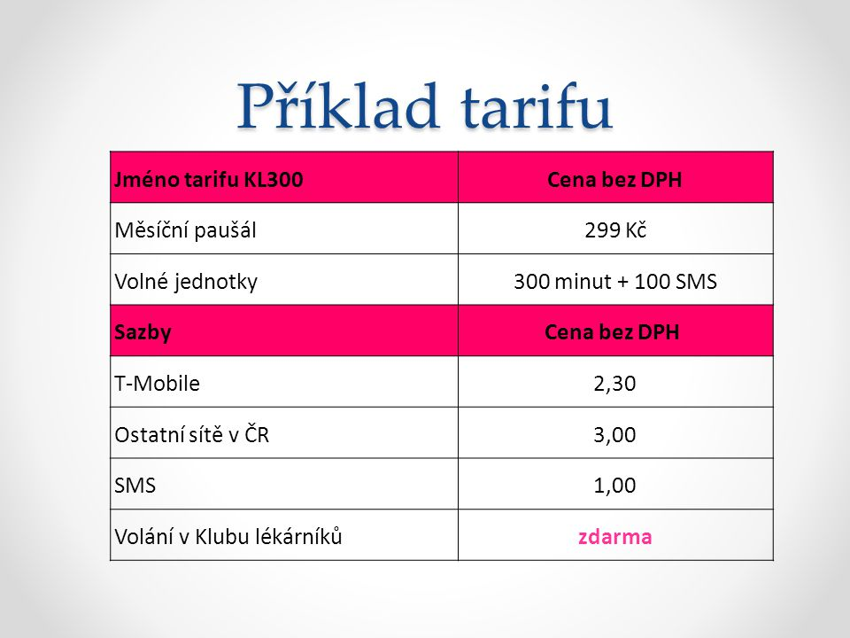 Příklad tarifu Jméno tarifu KL300 Cena bez DPH Měsíční paušál 299 Kč