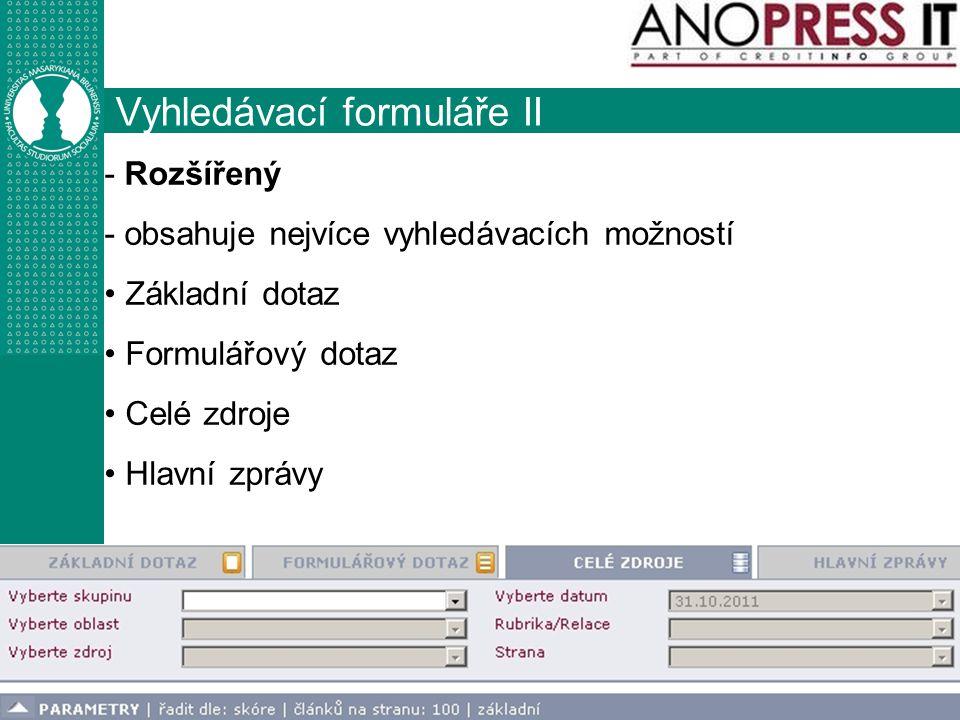 Vyhledávací formuláře II