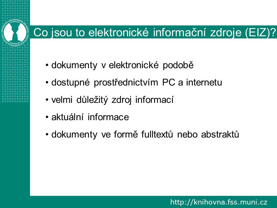 Co jsou to elektronické informační zdroje (EIZ)