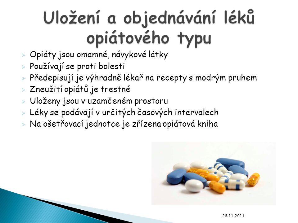 Opiáty jsou omamné, návykové látky Používají se proti bolesti