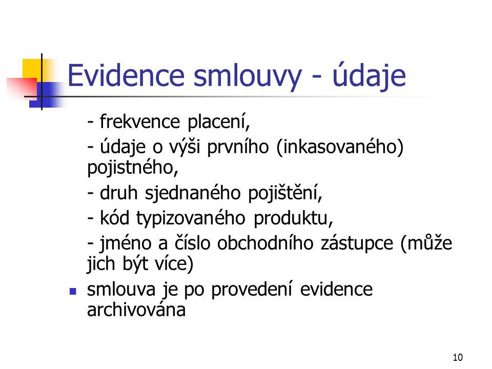 Evidence smlouvy - údaje