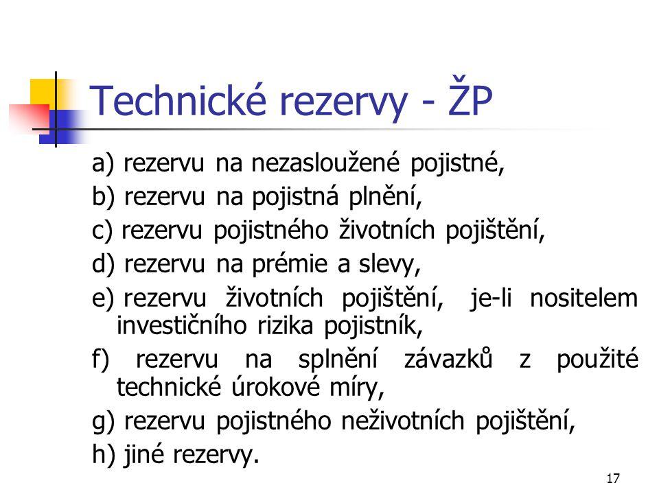 Technické rezervy - ŽP a) rezervu na nezasloužené pojistné,