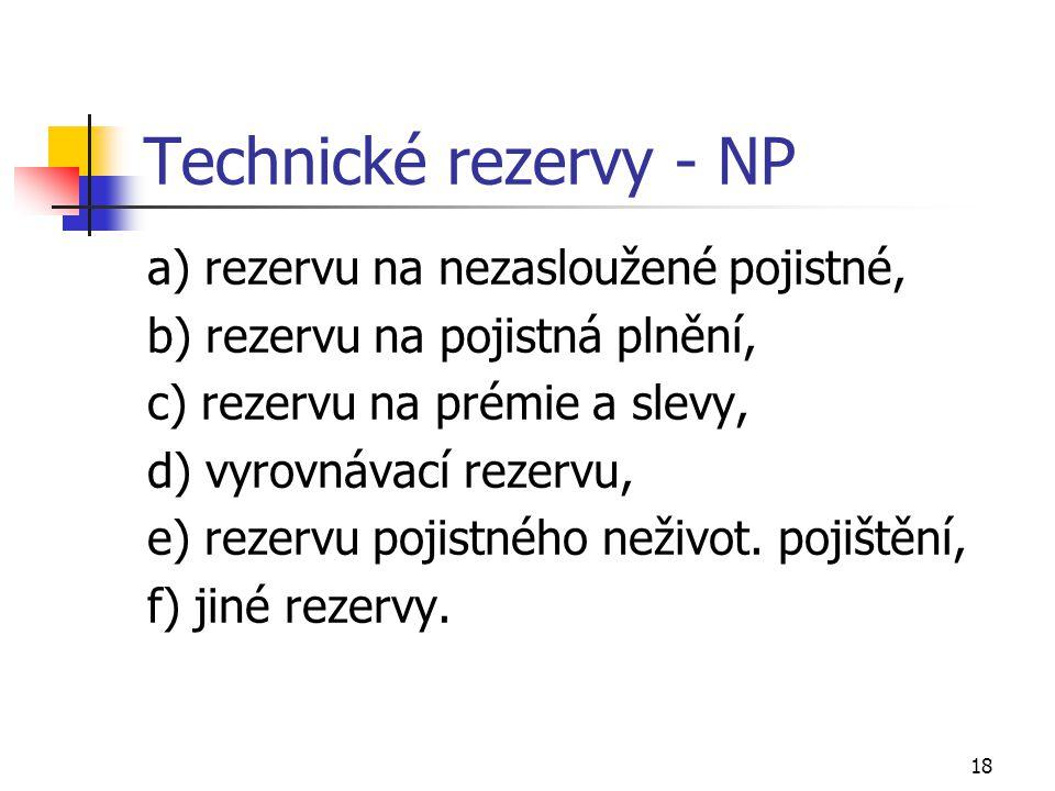 Technické rezervy - NP a) rezervu na nezasloužené pojistné,