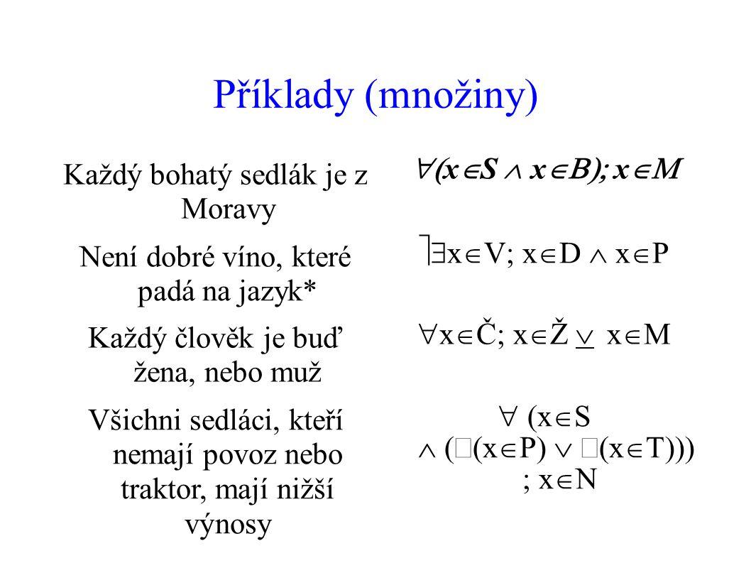 Příklady (množiny) Každý bohatý sedlák je z Moravy xS xx