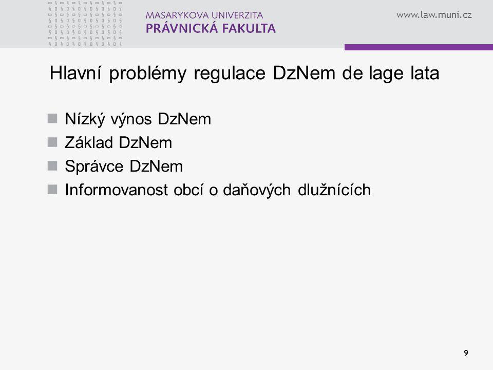 Hlavní problémy regulace DzNem de lage lata
