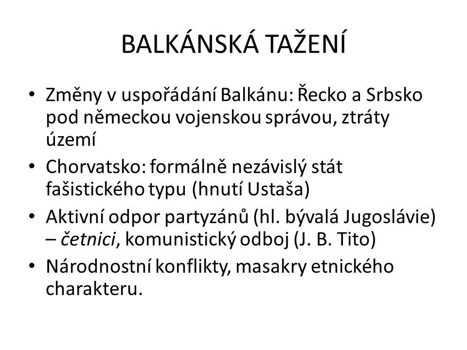 BALKÁNSKÁ TAŽENÍ Změny v uspořádání Balkánu: Řecko a Srbsko pod německou vojenskou správou, ztráty území.