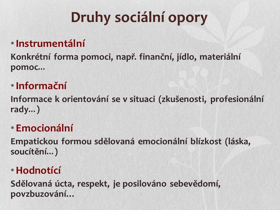 Druhy sociální opory Instrumentální Informační Emocionální Hodnotící