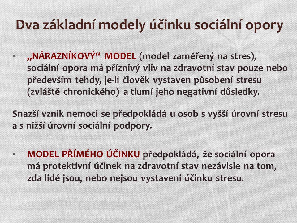 Dva základní modely účinku sociální opory
