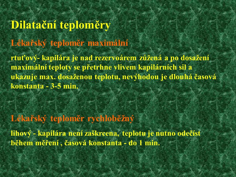 Dilatační teploměry Lékařský teploměr maximální