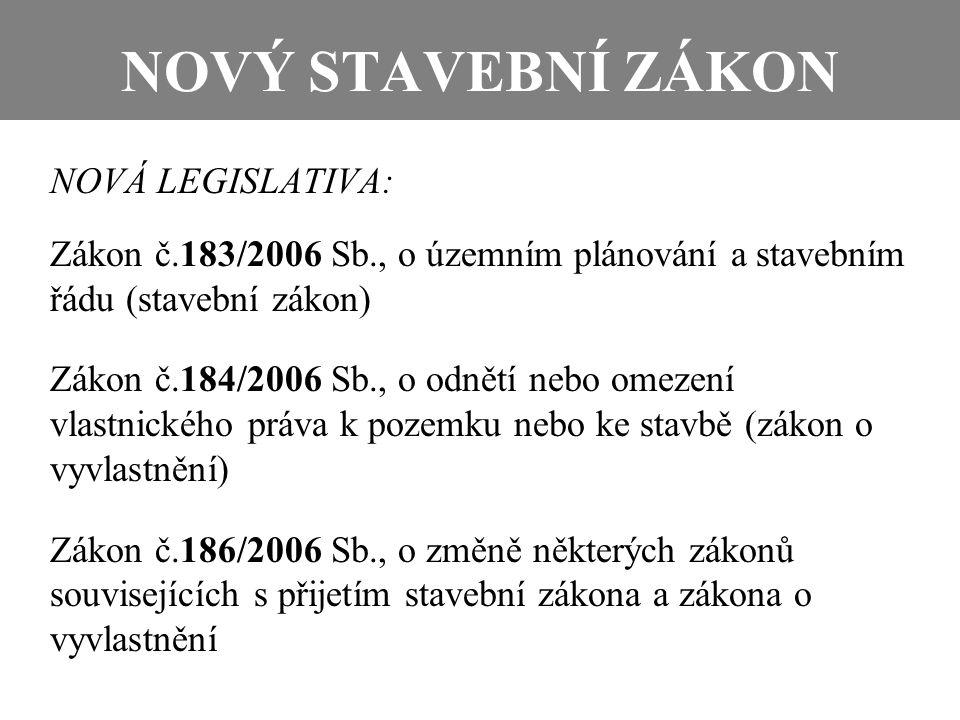 NOVÝ STAVEBNÍ ZÁKON NOVÁ LEGISLATIVA: