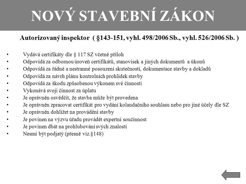 NOVÝ STAVEBNÍ ZÁKON Autorizovaný inspektor ( §143-151, vyhl. 498/2006 Sb., vyhl. 526/2006 Sb. ) Vydává certifikáty dle § 117 SZ včetně příloh.